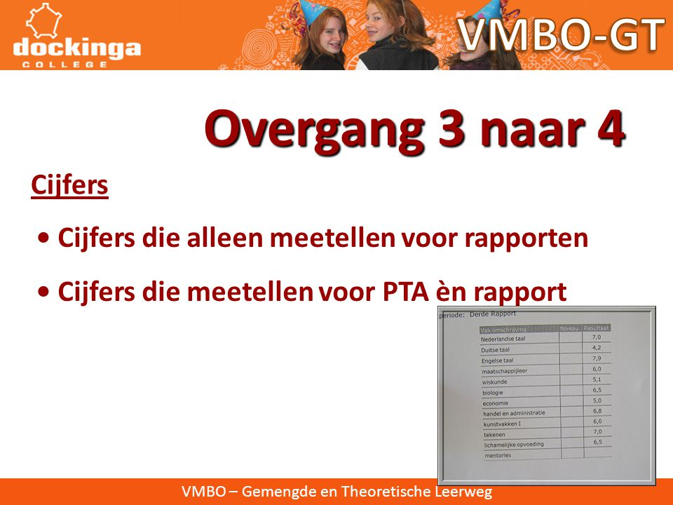 Overgang 3 naar 4 VMBO-GT Cijfers