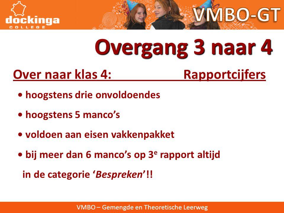 Overgang 3 naar 4 VMBO-GT Over naar klas 4: Rapportcijfers