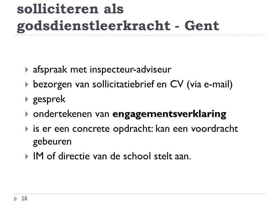 solliciteren als godsdienstleerkracht - Gent