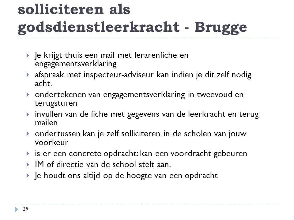 solliciteren als godsdienstleerkracht - Brugge