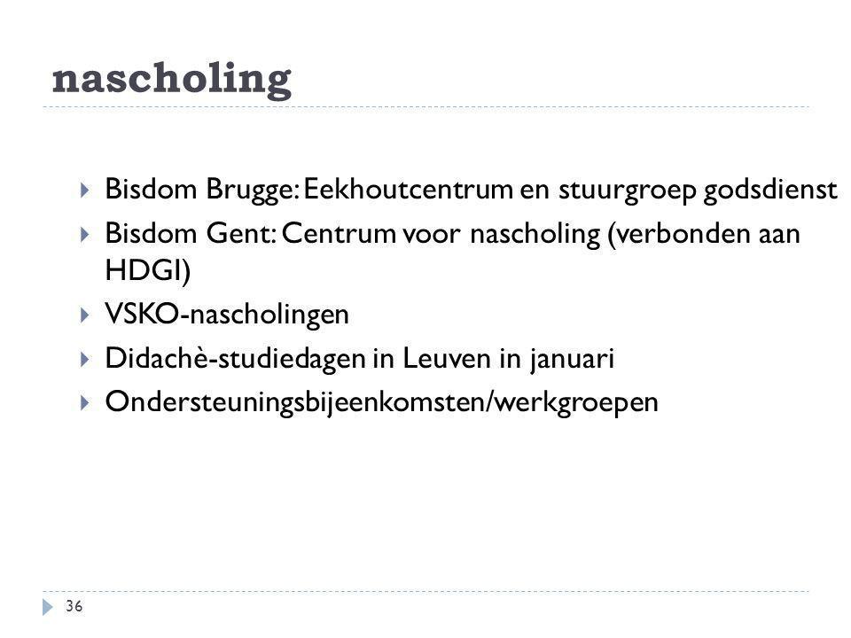 nascholing Bisdom Brugge: Eekhoutcentrum en stuurgroep godsdienst