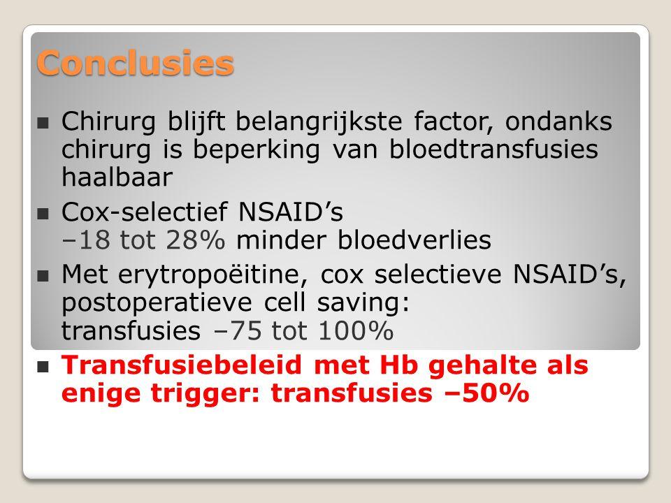 Conclusies Chirurg blijft belangrijkste factor, ondanks chirurg is beperking van bloedtransfusies haalbaar.