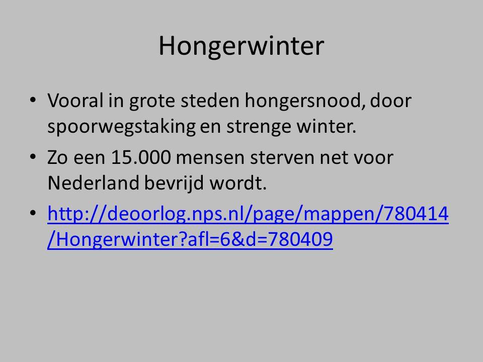 Hongerwinter Vooral in grote steden hongersnood, door spoorwegstaking en strenge winter.