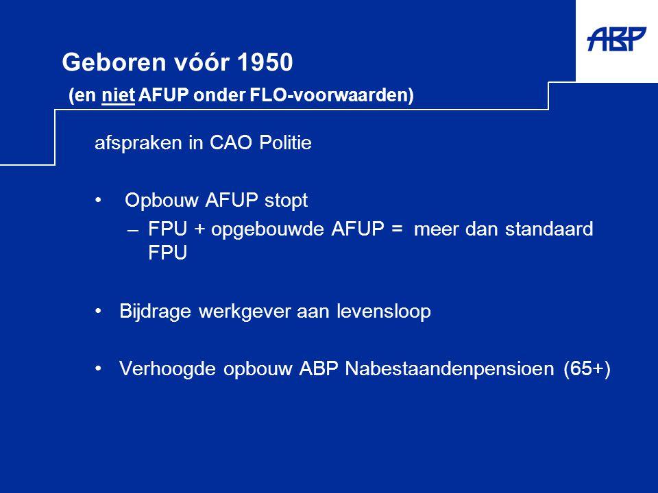 Geboren vóór 1950 (en niet AFUP onder FLO-voorwaarden)