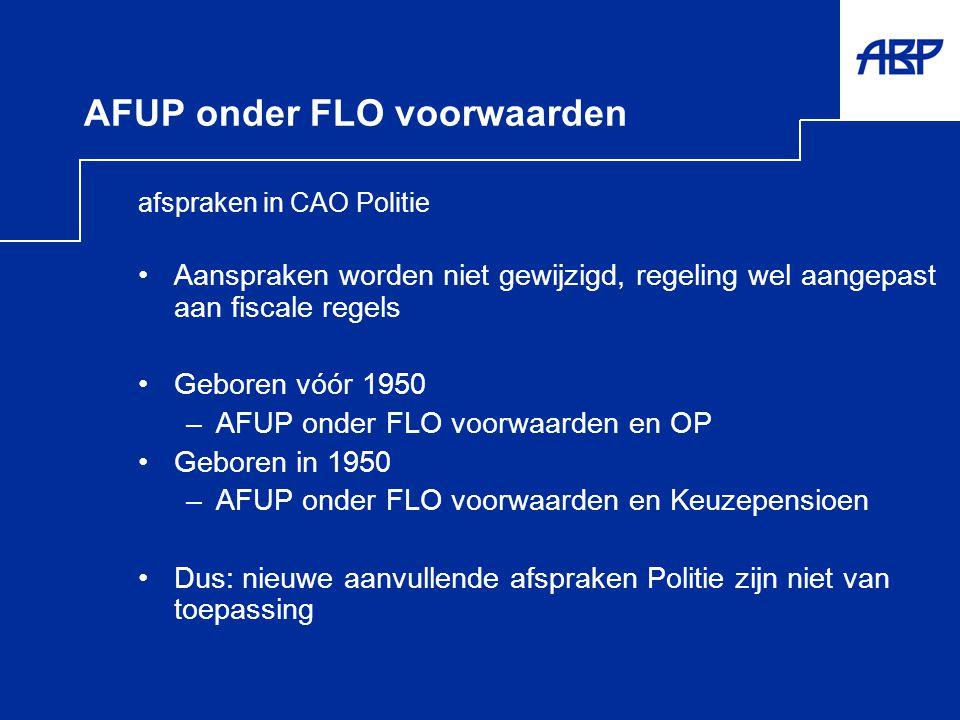 AFUP onder FLO voorwaarden