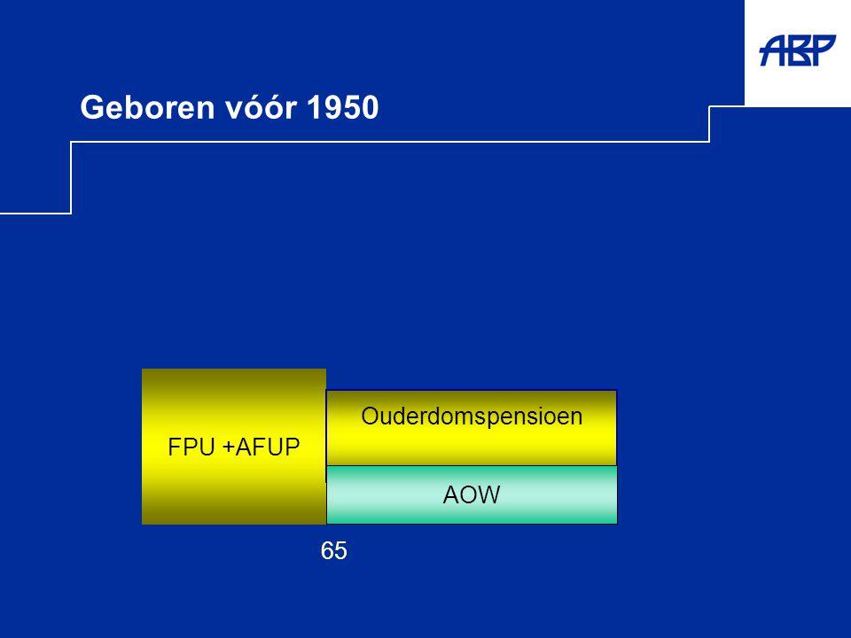 Geboren vóór 1950 FPU +AFUP Ouderdomspensioen AOW 65 AOW