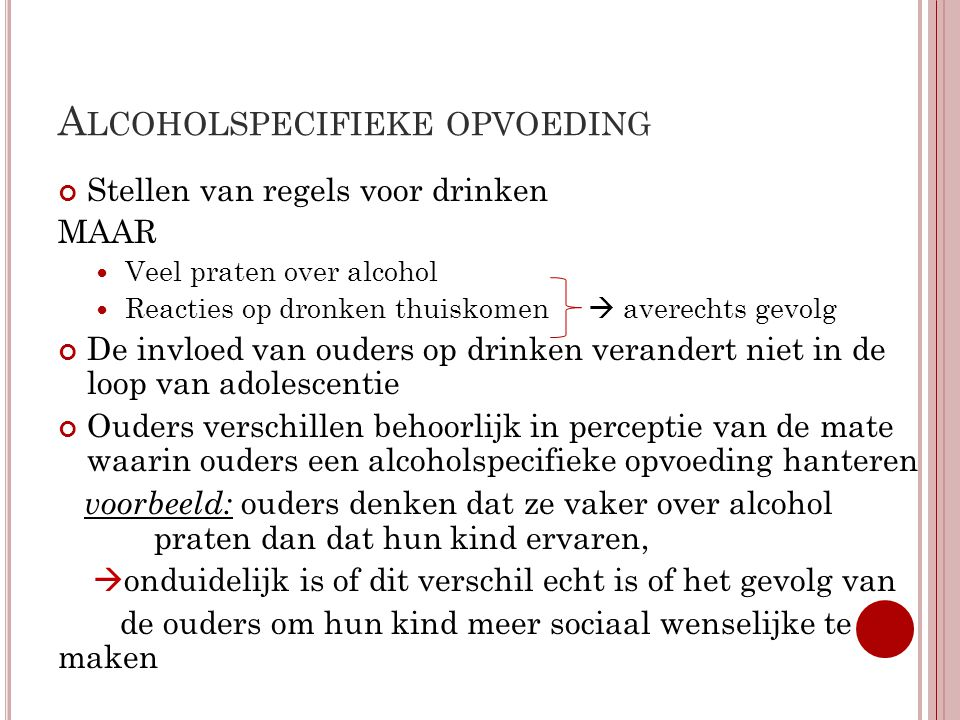 Alcoholspecifieke opvoeding