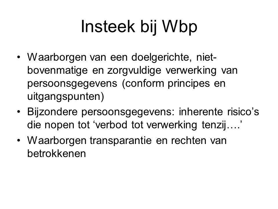 Insteek bij Wbp