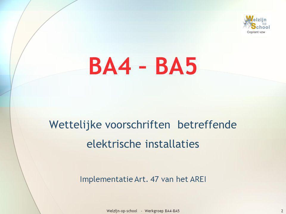 BA4 – BA5 Wettelijke voorschriften betreffende