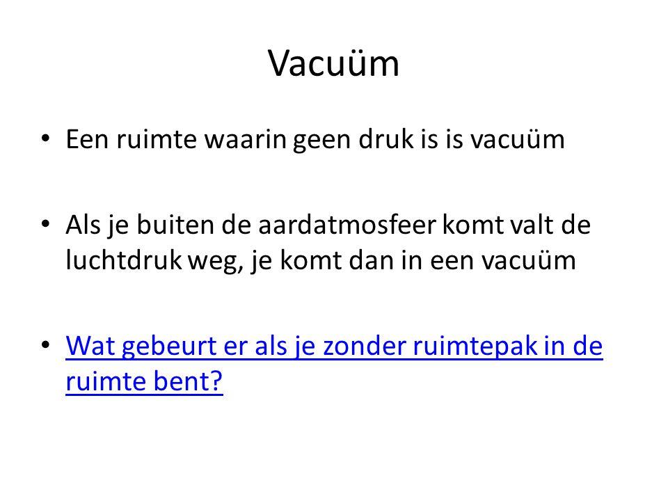 Vacuüm Een ruimte waarin geen druk is is vacuüm