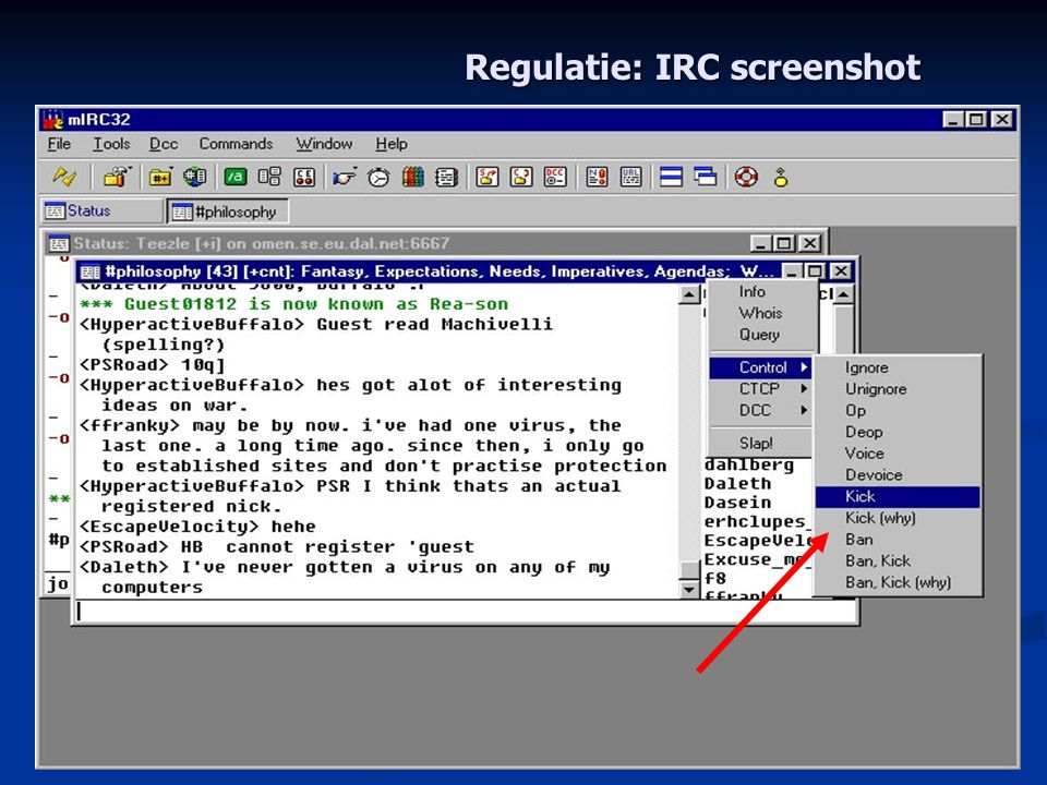 Regulatie: IRC screenshot