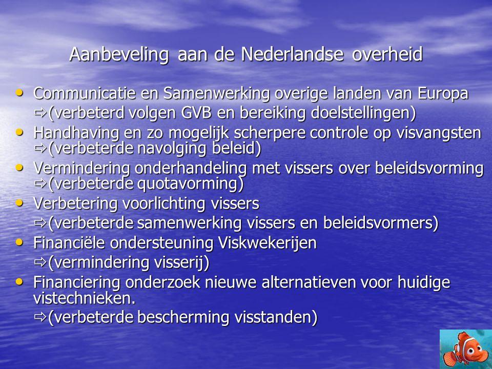 Aanbeveling aan de Nederlandse overheid