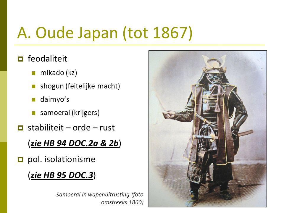 A. Oude Japan (tot 1867) feodaliteit stabiliteit – orde – rust