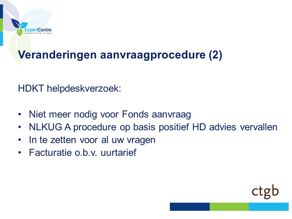 Veranderingen aanvraagprocedure (2)