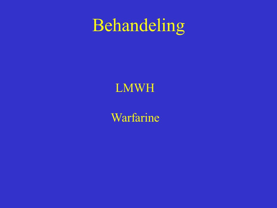 Behandeling LMWH Warfarine