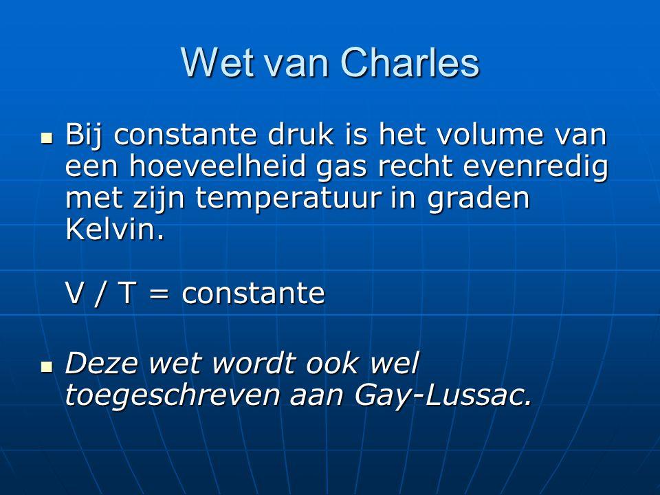 Wet van Charles Bij constante druk is het volume van een hoeveelheid gas recht evenredig met zijn temperatuur in graden Kelvin. V / T = constante.