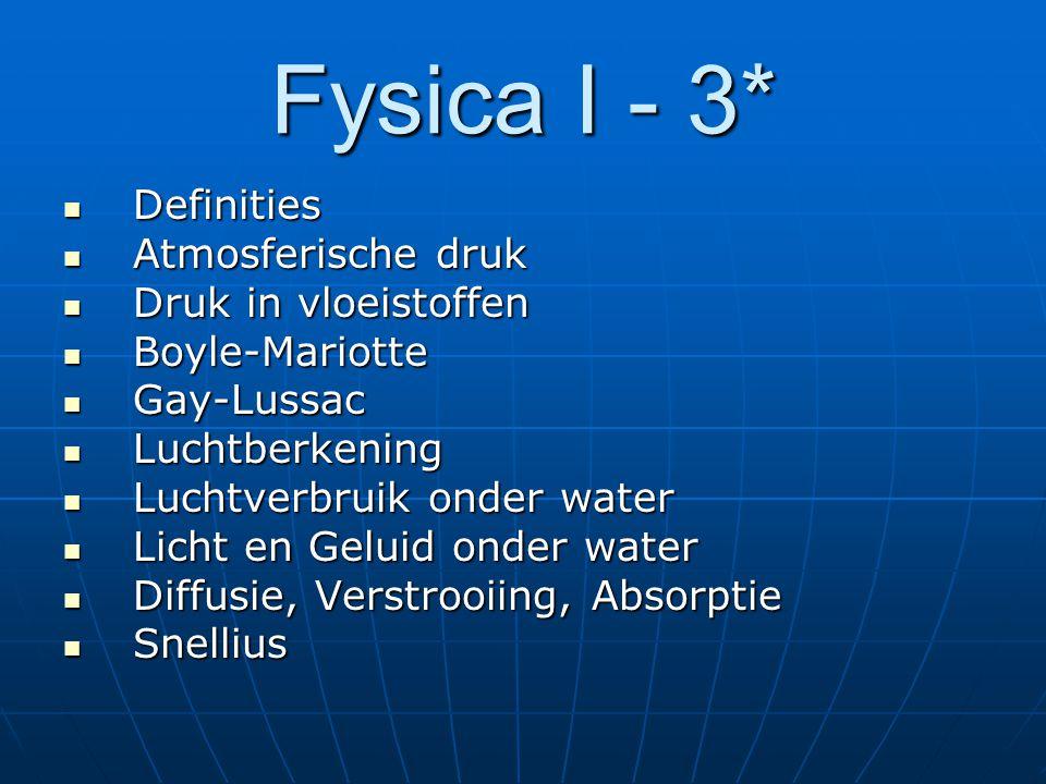 Fysica I - 3* Definities Atmosferische druk Druk in vloeistoffen