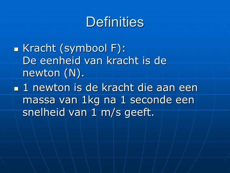 Definities Kracht (symbool F): De eenheid van kracht is de newton (N).