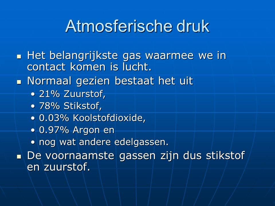 Atmosferische druk Het belangrijkste gas waarmee we in contact komen is lucht. Normaal gezien bestaat het uit.