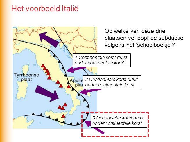 Het voorbeeld Italië Op welke van deze drie plaatsen verloopt de subductie volgens het 'schoolboekje'