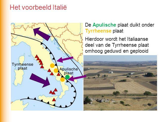 Het voorbeeld Italië De Apulische plaat duikt onder Tyrrheense plaat