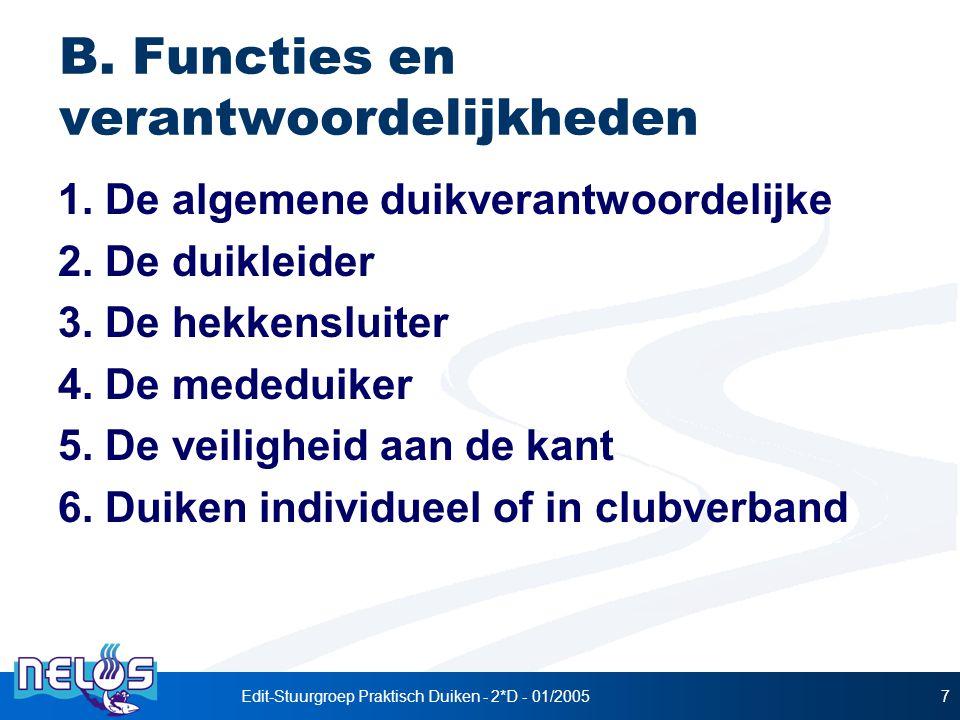 B. Functies en verantwoordelijkheden