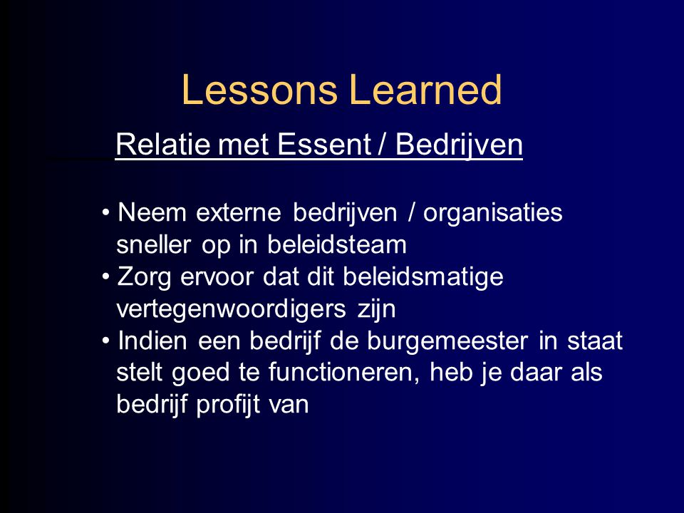 Lessons Learned Relatie met Essent / Bedrijven