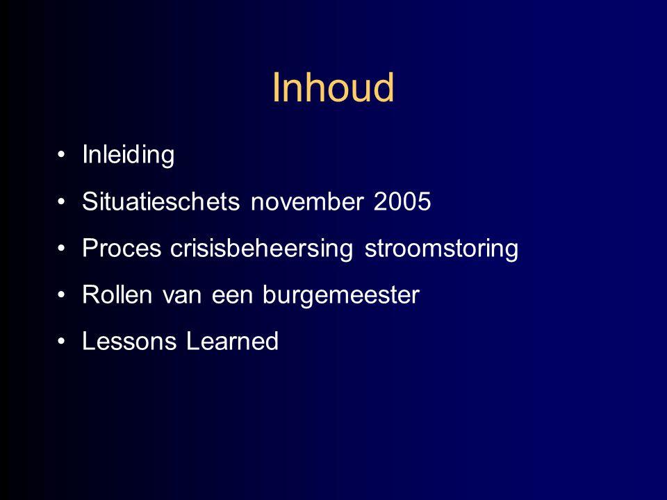 Inhoud Inleiding Situatieschets november 2005