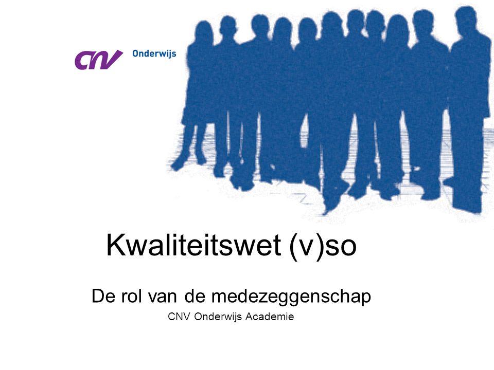 De rol van de medezeggenschap CNV Onderwijs Academie