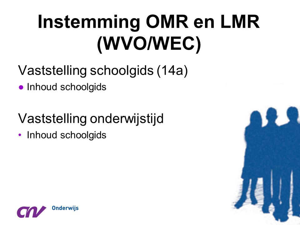 Instemming OMR en LMR (WVO/WEC)