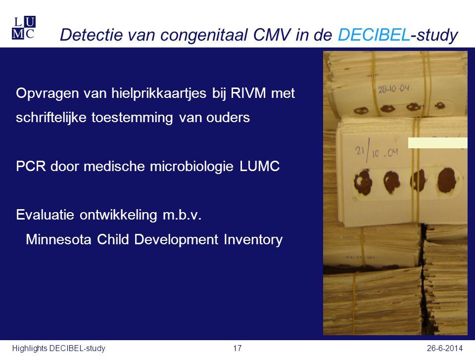 Detectie van congenitaal CMV in de DECIBEL-study