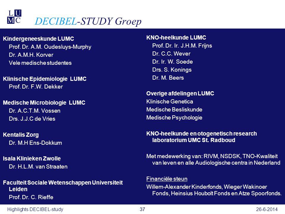 DECIBEL-STUDY Groep KNO-heelkunde LUMC Kindergeneeskunde LUMC