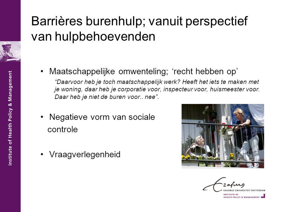 Barrières burenhulp; vanuit perspectief van hulpbehoevenden