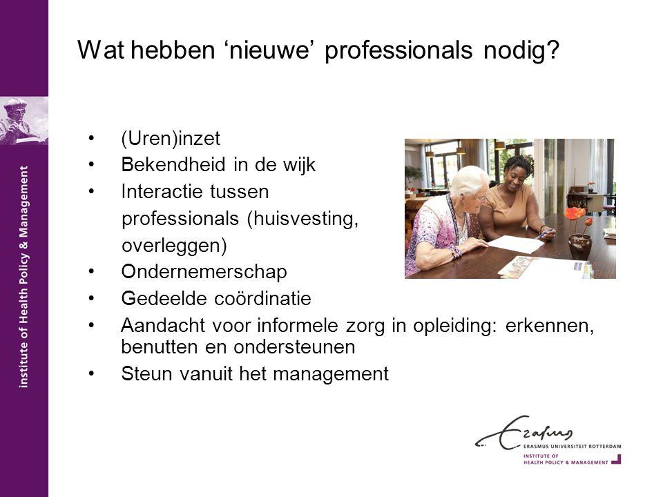 Wat hebben 'nieuwe' professionals nodig