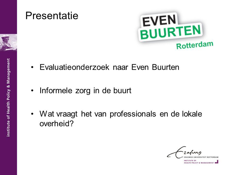 Presentatie Evaluatieonderzoek naar Even Buurten