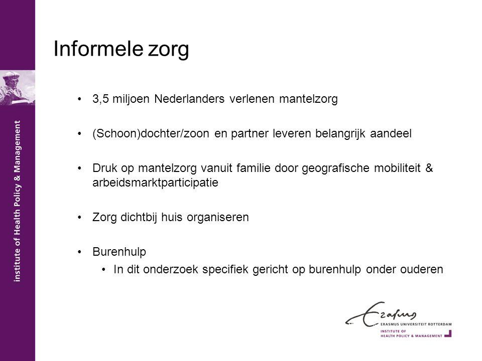 Informele zorg 3,5 miljoen Nederlanders verlenen mantelzorg