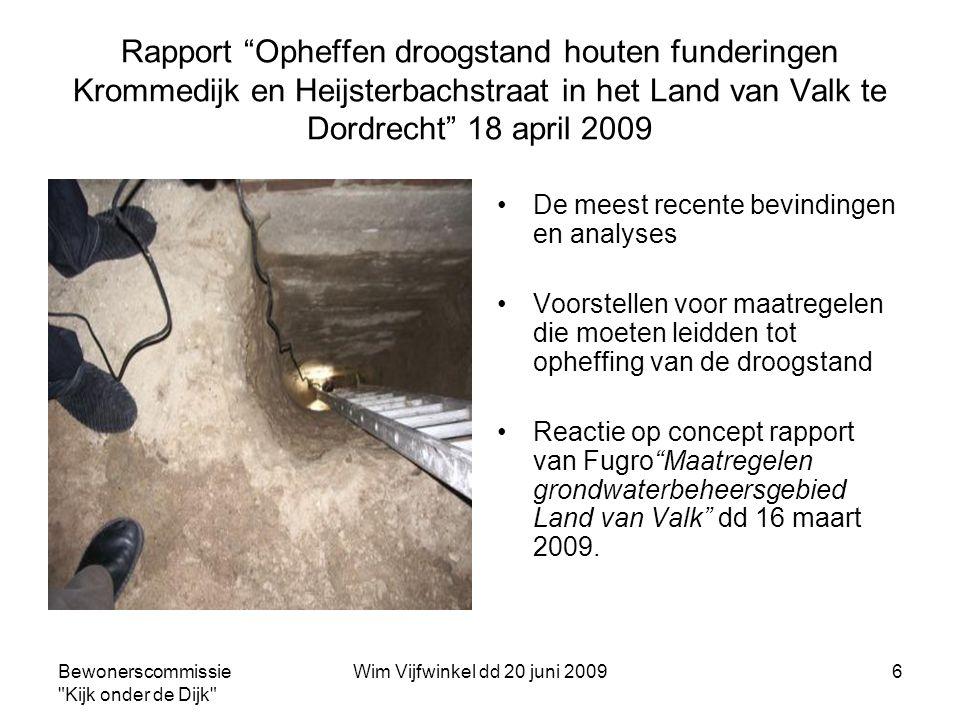 Rapport Opheffen droogstand houten funderingen Krommedijk en Heijsterbachstraat in het Land van Valk te Dordrecht 18 april 2009