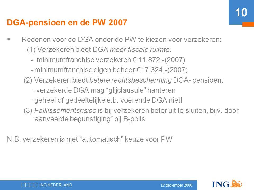 DGA-pensioen en de PW 2007 Redenen voor de DGA onder de PW te kiezen voor verzekeren: (1) Verzekeren biedt DGA meer fiscale ruimte: