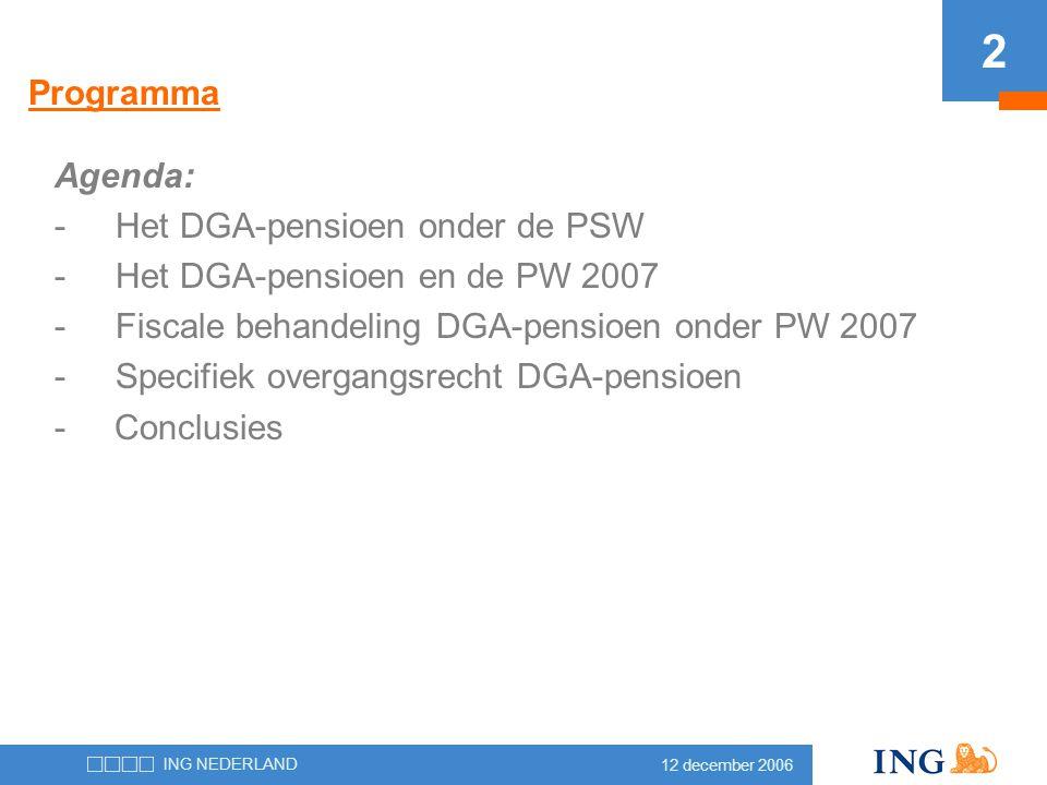 Programma Agenda: Het DGA-pensioen onder de PSW. Het DGA-pensioen en de PW 2007. Fiscale behandeling DGA-pensioen onder PW 2007.