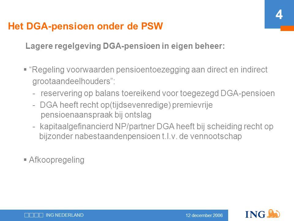 Het DGA-pensioen onder de PSW