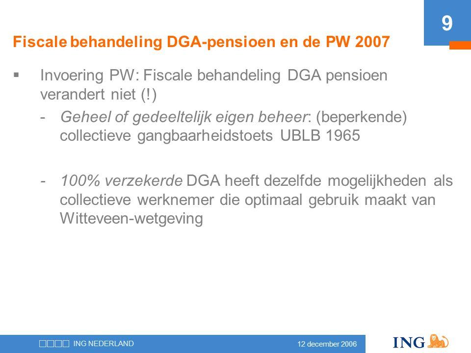 Fiscale behandeling DGA-pensioen en de PW 2007