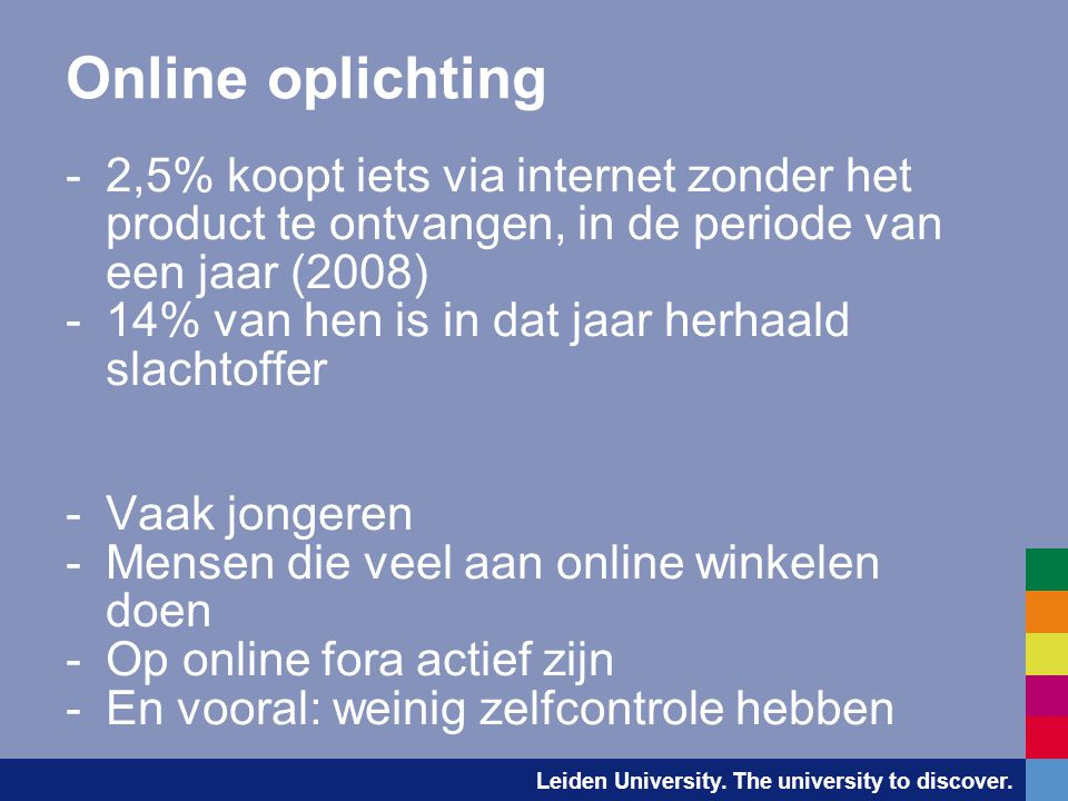 Online oplichting 2,5% koopt iets via internet zonder het product te ontvangen, in de periode van een jaar (2008)