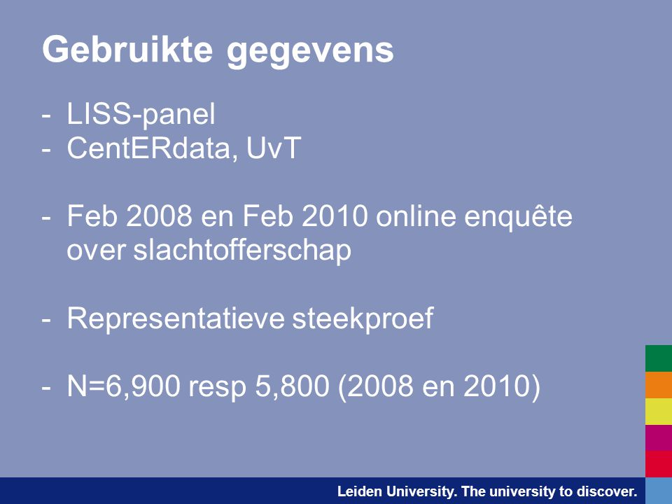 Gebruikte gegevens LISS-panel CentERdata, UvT