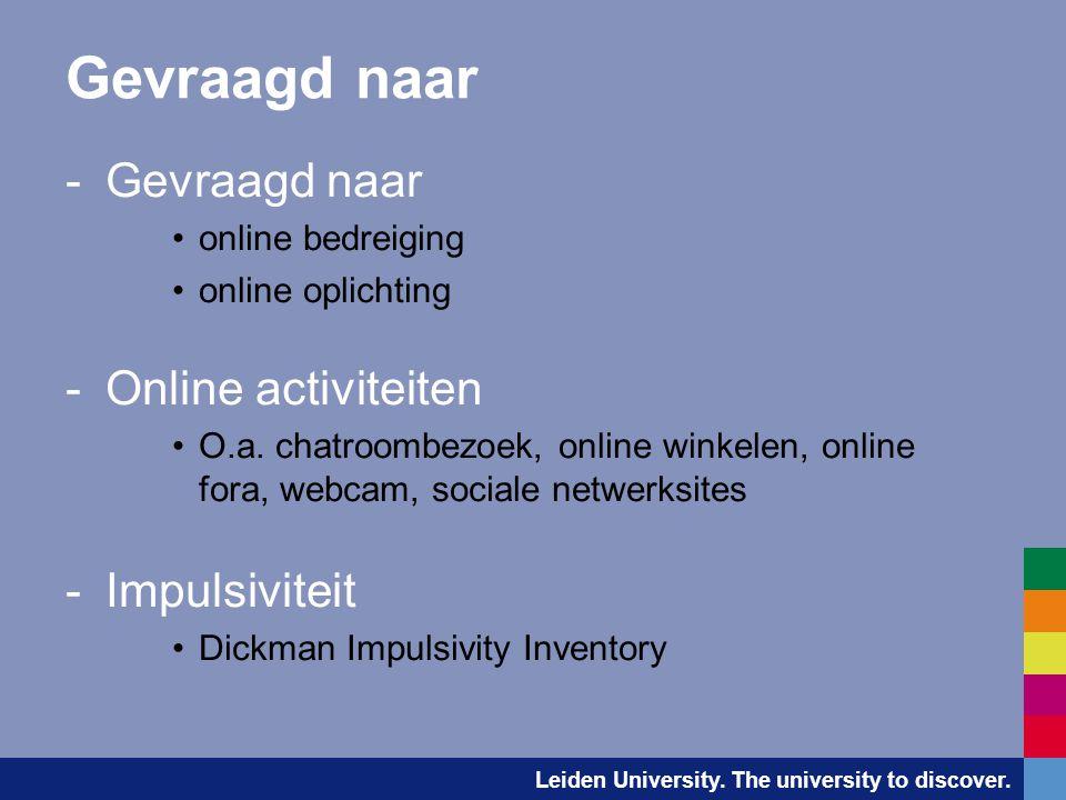 Gevraagd naar Gevraagd naar Online activiteiten Impulsiviteit
