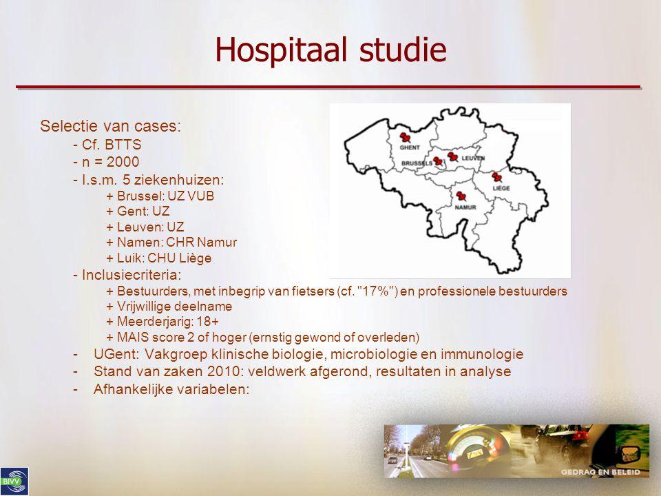 Hospitaal studie Selectie van cases: - Cf. BTTS - n = 2000