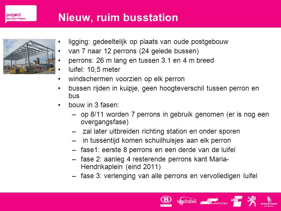 Nieuw, ruim busstation ligging: gedeeltelijk op plaats van oude postgebouw. van 7 naar 12 perrons (24 gelede bussen)
