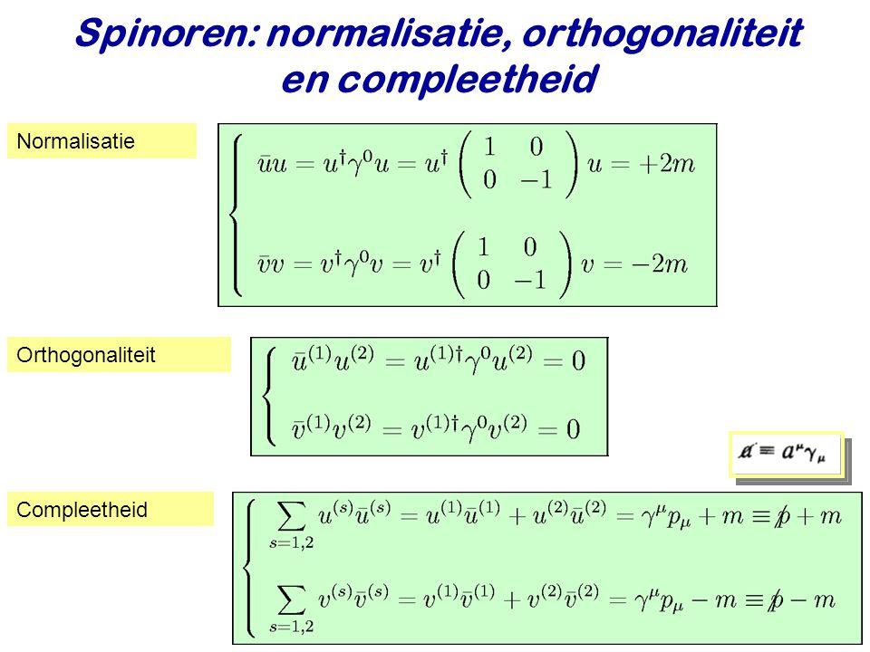 Spinoren: normalisatie, orthogonaliteit en compleetheid