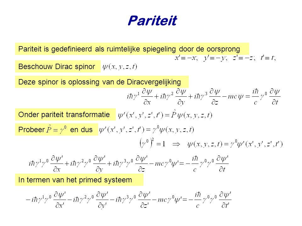 Pariteit Pariteit is gedefinieerd als ruimtelijke spiegeling door de oorsprong. Beschouw Dirac spinor.