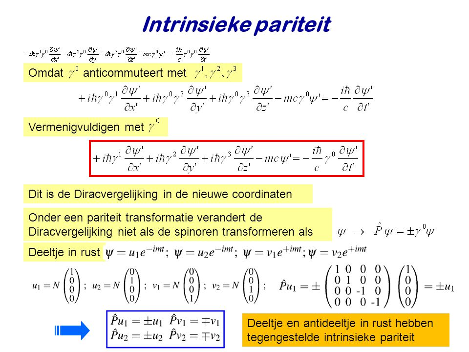 Intrinsieke pariteit Omdat anticommuteert met Vermenigvuldigen met
