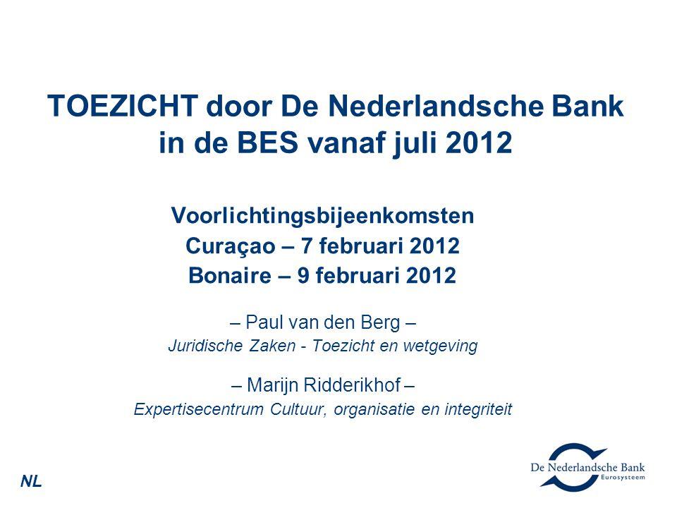 TOEZICHT door De Nederlandsche Bank in de BES vanaf juli 2012